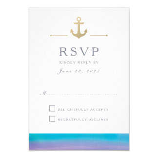 Watercolor Blue Nautical White Response RSVP Card 9 Cm X 13 Cm Invitation Card