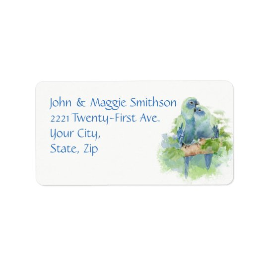 Watercolor Blue Parrot Tropical Bird Address Label