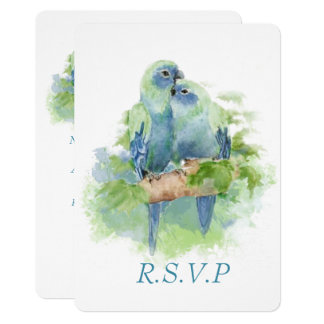 Watercolor Blue Parrot Tropical Bird Wedding  RSVP Card