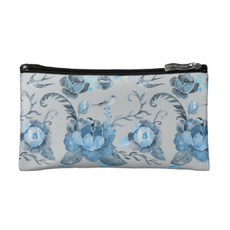 Watercolor blue peony and swallow pattern Bag Cosmetic Bag