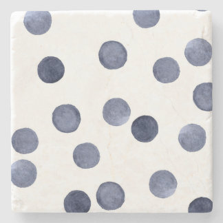 Watercolor . Blue polka dot . Stone Coaster