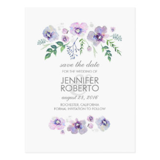 Watercolor Blue Purple Flowers Cute Save the Date Postcard