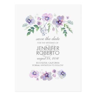 Watercolor Blue Purple Flowers Cute Save the Date Postcard