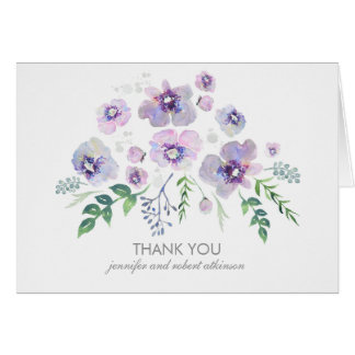 Watercolor Blue Purple Flowers Wedding Thank You Note Card