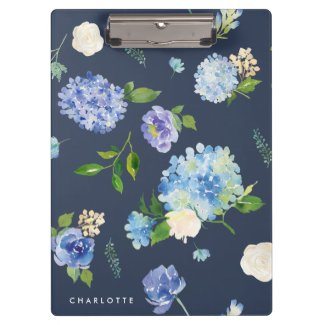 Watercolor Blue & Purple Hydrangeas Personalised Clipboard