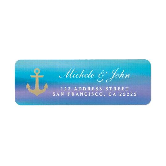 Watercolor Blue Purple Return Address Labels
