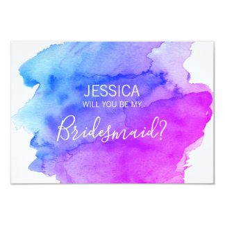 Watercolor Blue Purple Will You Be my Bridesmaid? Card
