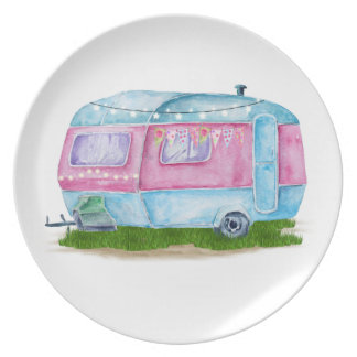 Watercolor Blue Retro Vintage Camper Caravan Plate
