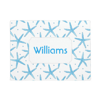 Watercolor Blue Sea Stars Pattern | Add Your Name Doormat