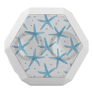 Watercolor Blue Sea Stars Pattern White Bluetooth Speaker