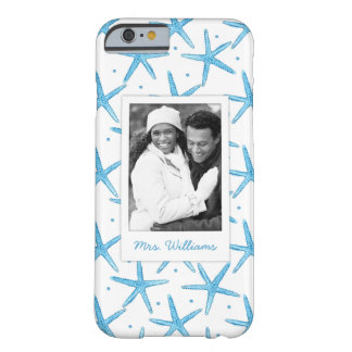 Watercolor Blue Sea Stars | Your Photo & Name Barely There iPhone 6 Case