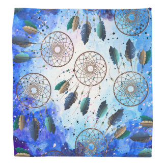 Watercolor Blue Space Nebula Tan Dream Catchers Head Kerchief