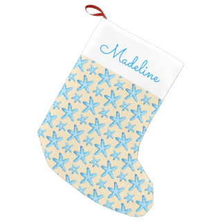 Watercolor Blue Starfish Pattern | Add Your Name Small Christmas Stocking