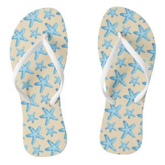 Watercolor Blue Starfish Pattern Flip Flops