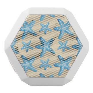 Watercolor Blue Starfish Pattern White Bluetooth Speaker