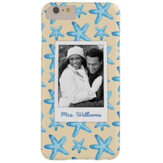 Watercolor Blue Starfish | Your Photo & Name Barely There iPhone 6 Plus Case