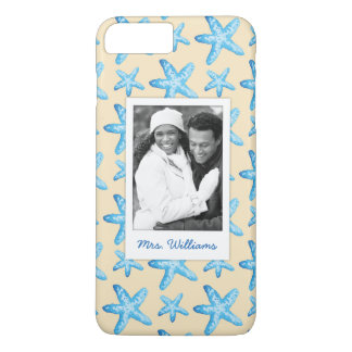 Watercolor Blue Starfish | Your Photo & Name iPhone 8 Plus/7 Plus Case