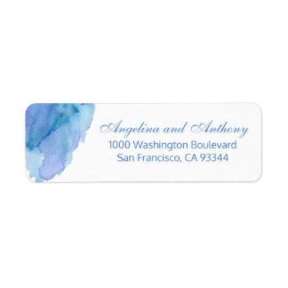 Watercolor Blue Teal Beach Wedding Return Address