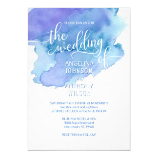 Watercolor Blue Teal Purple Wedding Invitations