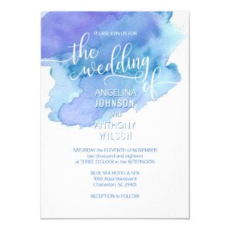 Watercolor Blue Teal Purple Wedding Invitations