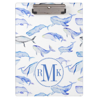 Watercolor Blue Whale Pattern Clipboard