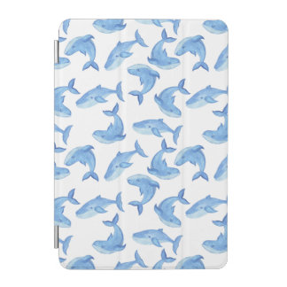 Watercolor Blue Whale Pattern iPad Mini Cover