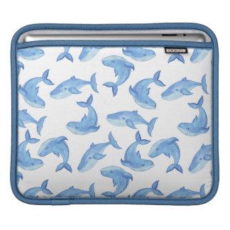 Watercolor Blue Whale Pattern iPad Sleeve