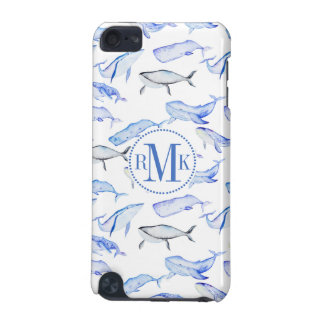 Watercolor Blue Whale Pattern iPod Touch 5G Covers