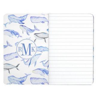 Watercolor Blue Whale Pattern Journal