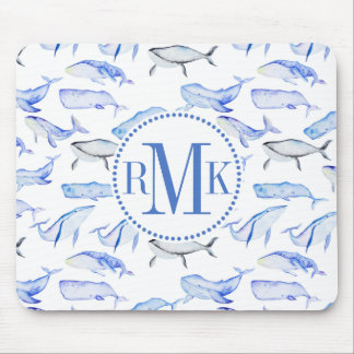 Watercolor Blue Whale Pattern Mouse Mat