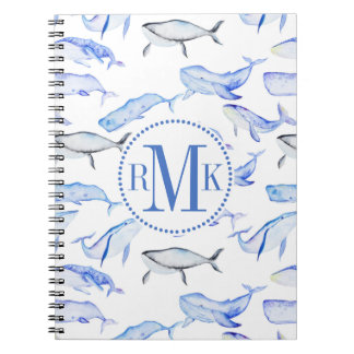 Watercolor Blue Whale Pattern Notebook