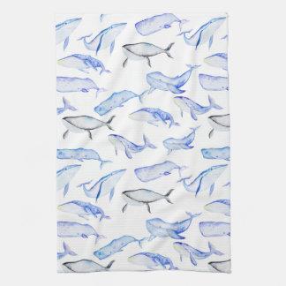 Watercolor Blue Whale Pattern Tea Towel