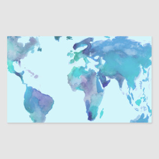 Watercolor Blue World Map Rectangular Sticker