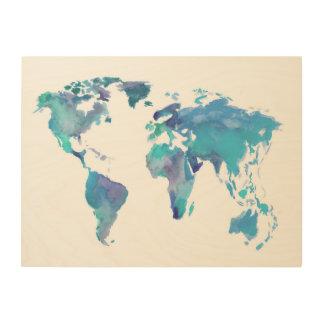 Watercolor Blue World Map Wood Prints