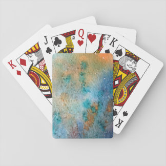 watercolor, blue yellow orange pattern abstract playing cards