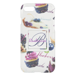 Watercolor Blueberries and Sweets Monogram iPhone 8/7 Case