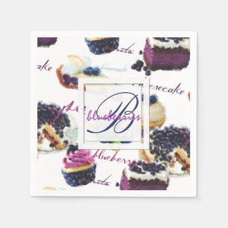 Watercolor Blueberries and Sweets Monogram Paper Napkin