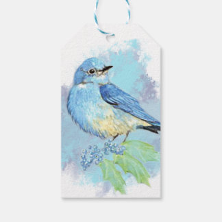 Watercolor Bluebird Garden Bird Art