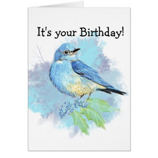 Watercolor Bluebird Garden Bird Art Card