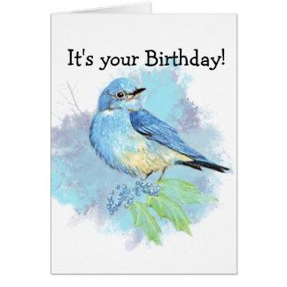 Watercolor Bluebird Garden Bird Art Greeting Card