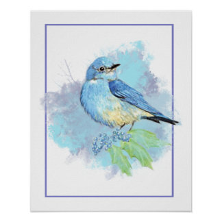 Watercolor Bluebird Garden Bird Art Poster
