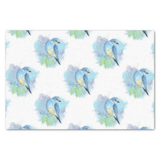 Watercolor Bluebird Garden Bird Art Tissue Paper