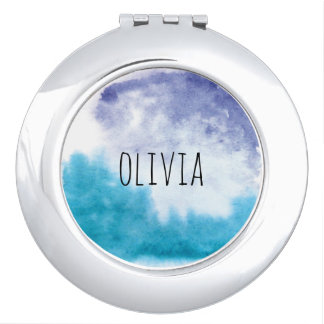 Watercolor Blues Custom Name Compact Mirror