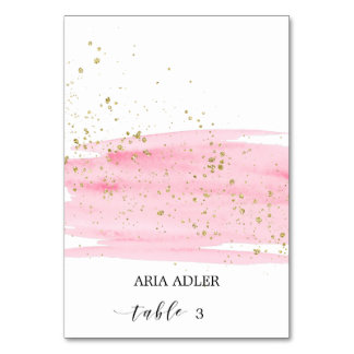 Watercolor Blush & Gold Wedding Escort Place Cards