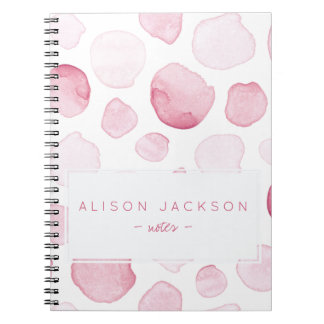 Watercolor blush pink drops pattern spiral notebook