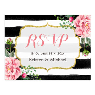 Watercolor Blush Pink Floral Stripes RSVP Postcard