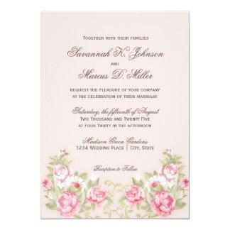 Watercolor Blush Pink Roses Wedding Invitations