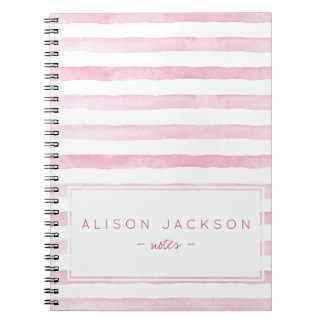 Watercolor blush pink stripes pattern notebook