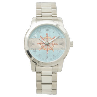 Watercolor Boat Helm Wheel ID385 Watch