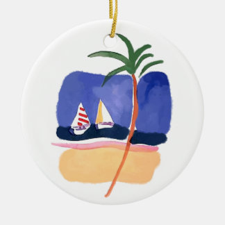 Watercolor Boats, Palm & Beach Christmas Ornament